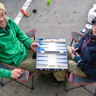 Jimmy and Petra Halvardsson, on the parking-lot-camping