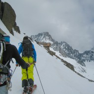Ascending to the Argentiere refuge from the last lift to Grands Montets