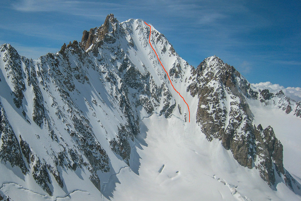 Barbey Couloir on Aiguille d'Argetiere north-east face