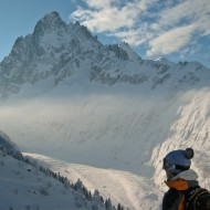 Admiring the views of Mer de Glace and Grand Charmoz