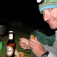 Well earned dinner back at the mid-station after climbing the Cordier Pillar
