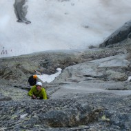 Alpine rock climbing on trad gear