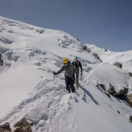 Climbing snow ridges