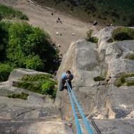 Steep crack climbing