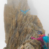 Some people prefer this exposed ridge climb when it is cloudy