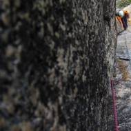 Pitch 7, after which we cut out of this dihedral by a steep passage to the right (not to be missed)...