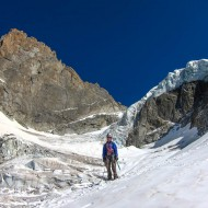 Half way down the Nantillons glacier, having passed the critical part underneath the seracs. Left of this great day is scrambling down a rocky spur, traversing again underneith the seracs, reaching dry ground, and then 2000 hieght meters walk back down to Chamonix