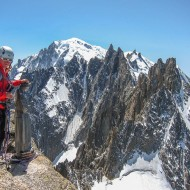 Views of Mt Blanc and the whole traverse of les Aiguilles de Chamonix from Aig du Midi to Blatière.