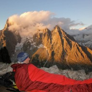 Enjoying the sunset panorama from Le Dru and Aig de Moine...