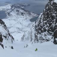 Couloir skiing in Lyngen - Kagen island