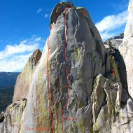 Don Juan Wall (5.11b) and Thin Ice (5.10b) on Sorcerer east face