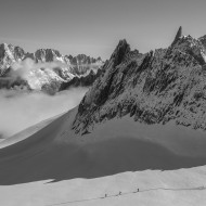View of Aiguille d'Entreves on a clear summer day with 20cm of fresh snow
