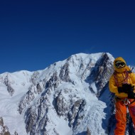 At the top of the NE couloir with the majestic west face of Mt Blanc opposite