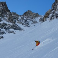 Then we have chalky powder for the remaining 1200 height meters of skiing in the couloir