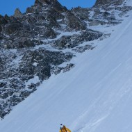 The couloir widens up to about 50m, so plenty of room to make plenty of short turns