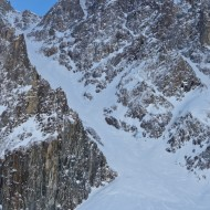 Looking back up at the Bonatti couloir