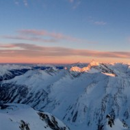 Panorama view over the Italien Alps, from Mont Blanc to Grand Pardiso