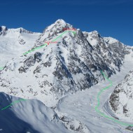 NE couloir on Petit Mt Blanc. From the top cable car in Courmayeur we get a good look at the whole round trip