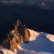 Aiguille du Midi and it's south face on the right in the morning sun