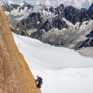World class granite climbing with the back-drop of Grandes Jourasses and the Vallee Blanche