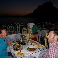 Dinner for 3 at Aegean Tavern, food is delicious as in most places on Kalymnos