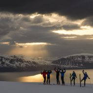 Sunset ski touring