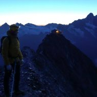 Leaving Mittellegi hut before dawn