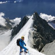 The upper, snowy part of Weisshorn east ridge