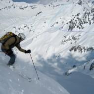 Skiing north face of Col de la Floria - Line to Col de Berarde and Keyhole marked