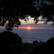 Sunrise from our tent spot above Gala Gonone