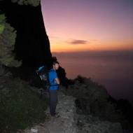 Morning approach to Wolfgang Gullich climb on Punta Giradili