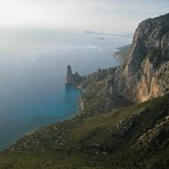 Punta Argennas and the pillar Pedra Longa far below, Baunei, Sardinia