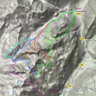 Topo map of Aiguille Rouges ski tours