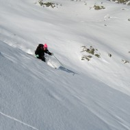 Lower parts of Toula glacier in light powder