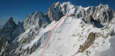 Skiing South East Face of Aiguille d'Entreves