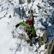 Scrambling up the west ridge of Aig d'Entreve