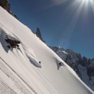 Ski touring in the Periades NE shoulder of Aiguille de Tacul