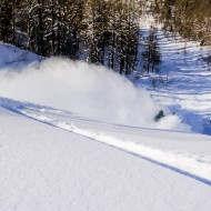 Paul on the last turns of Col de Passon ski tour