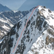 Seeing our line on Grand Lui west face that we skied 3 days ago