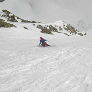 Some fun steep turns in good spring snow down to the Glacier de la Neuve