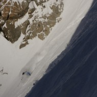 Face shots in the exit couloir of Glacier Ronde