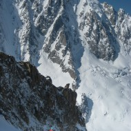 Skinning up the Milieu Glacier, Aig Vert towering behind
