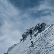 Wolfgang on the first turns from the ridge down the north-east face called the Barbey couloir