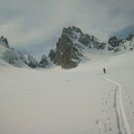 Skinning around the north side of Aig d'Argentiere
