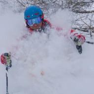Skiing bottom half of Helbronner