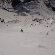 Skiing under the cables of the Helbronner lift