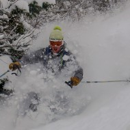 Tree skiing at lower parts of Helbronner