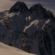 Skiing Couloirs de Poussettes to Vallorcine