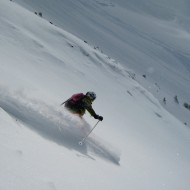 Skiing in the big bowl backside of Le Tour