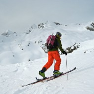 Skinning up from Lac Blanc to Col de Belvedere